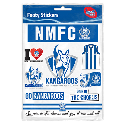 North melbourne sticker sheet afl407kj
