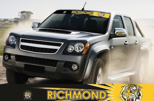Richmond tigers afl car stickers afl car accessories richmond tigers 1 tag car sticker